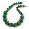 Chunky Green Glass Bead Ball Necklace with Silver Tone Clasp - 60cm L