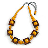 Chunky Square and Round Wood Bead Cotton Cord Necklace ( Yellow/ Brown) - 76cm L