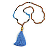 Glass Nugget, Brown/ Black Seed Beaded Necklace with Buddha Lucky Charm/ Cornflower Blue Silk Tassel Pendant - 86cm L/ 13cm Tassel