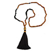 Black Semiprecious Nugget, Brown/ Black Seed Beaded Necklace with Buddha Lucky Charm/ Silk Tassel Pendant - 86cm L/ 13cm Tassel