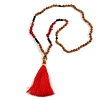 Red Coral Nugget, Brown/ Black Seed Beaded Necklace with Buddha Lucky Charm/ Silk Tassel Pendant - 86cm L/ 13cm Tassel
