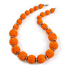 Chunky Orange Glass Bead Ball Necklace with Silver Tone Clasp - 60cm L