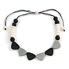 Black/ White/ Grey Resin Bead Geometric Cotton Cord Necklace - 44cm L - Adjustable up to 50cm L