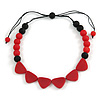 Red/ Black Resin Bead Geometric Cotton Cord Necklace - 44cm L - Adjustable up to 50cm L