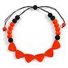 Orange/ Black Resin Bead Geometric Cotton Cord Necklace - 44cm L - Adjustable up to 50cm L