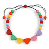 Pastel Multicoloured Resin Bead Geometric Cotton Cord Necklace - 44cm L - Adjustable up to 50cm L