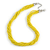 Multistrand Twisted Lemon Yellow Glass Bead Necklace Silver Tone Closure - 48cm L/ 3cm Ext