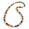 Multicoloured Resin Bead Long Necklace - 86cm Long