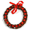 Brown Wood Ring with Red Silk Ribbon Necklace - 49cm L/ 20cm L Ribbon Ext