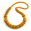 Dusty Yellow Wood Bead Necklace - 66cm Long
