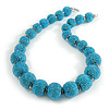 Chunky Light Blue Glass Bead Ball Necklace with Silver Tone Clasp - 60cm L