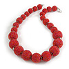 Chunky Red Pink Glass Bead Ball Necklace with Silver Tone Clasp - 60cm L