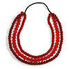 3 Strand Dark Red Resin Bead Black Cord Necklace - 80cm L - Chunky