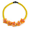 Yellow/ Orange Glass Bead with Shell Floral Motif Necklace - 48cm Long