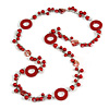 Long Red Pearl, Shell and Resin Ring with Silver Tone Chain Necklace - 104cm Long