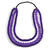 3 Strand Purple Resin Bead Black Cord Necklace - 80cm L - Chunky