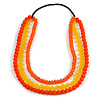 3 Strand Orange/ Yellow Resin Bead Black Cord Necklace - 80cm L - Chunky