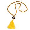 Long Yellow Wood Bead Cotton Tassel Necklace - 90cm L/ 15cm Tassel