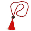 Long Red Wood Bead Cotton Tassel Necklace - 90cm L/ 15cm Tassel