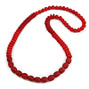 Long Chunky Resin Bead Necklace In Red - 86cm Long