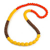 Long Chunky Resin Bead Necklace In Yellow/ Brown/ Orange - 86cm Long