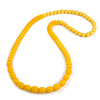 Long Chunky Resin Bead Necklace In Yellow - 86cm Long