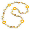 Long Yellow Pearl, Shell and Resin Ring with Silver Tone Chain Necklace - 104cm Long