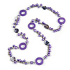 Long Purple Pearl, Shell and Resin Ring with Silver Tone Chain Necklace - 104cm Long