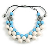 White/ Light Blue/ Grey Resin Beaded Cotton Cord Necklace - 40cm L - Adjustable up to 48cm L