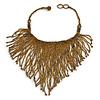 Statement Glass Bead Bib Style/ Fringe Necklace In Bronze - 40cm Long/ 17cm Front Drop