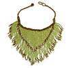 Statement Glass Bead Bib Style/ Fringe Necklace In Lime Green/ Bronze - 40cm Long/ 17cm Front Drop