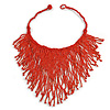 Statement Glass Bead Bib Style/ Fringe Necklace In Brick Red - 40cm Long/ 17cm Front Drop