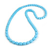 Long Chunky Resin Bead Necklace In Light Blue - 86cm Long