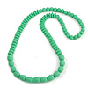 Long Chunky Resin Bead Necklace In Light Green - 86cm Long
