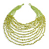 Statement Long Layered Multistrand Glass Bead and Semiprecious Stone Necklace In Lime Green - 86cm Long