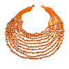 Statement Long Layered Multistrand Glass Bead and Semiprecious Stone Necklace In Orange - 84cm Long
