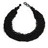 Wide Chunky Black Glass Bead Plaited Necklace - 53cm L