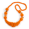 Chunky Orange Glass and Shell Bead Necklace - 70cm L