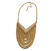Gold Plated Chic Multi Chain Crystal Bib Necklace - 38cm L/ 7cm Ext/ 12cm Front Drop