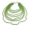 Long Layered Pea Green Acrylic Bead Necklace In Silver Plating - 112cm L/ 5cm Ext