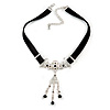 Victorian Black Suede Style Diamante Choker Necklace In Silver Tone Metal - 34cm L/ 5cm Ext
