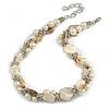 Exquisite Faux Pearl & Shell Composite Silver Tone Link Necklace In Cream/ Antique White - 44cm L/ 7cm Ext