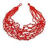 Bright Red Glass Bead/ Semiprecious Stone Multistrand Necklace - 60cm Long