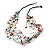 Multicoloured Nugget Multistrand Cotton Cord Necklace - 58cm L