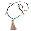 Trendy Turquoise, Sea Shell, Faux Tree Seed, Brown Glass Bead Beige Cotton Tassel Long Necklace - 90cm L/ 12cm Tassel