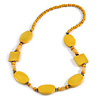 Yellow Oval/ Square Wooden and Glass Beads Necklace - 64cm Long
