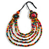 Multicoloured Layered Multistrand Wood Bead Black Cord Necklace - 100cm L
