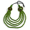 Layered Multistrand Lime Green Wood Bead Black Cord Necklace - 100cm L
