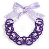Contemporary Acrylic Ring Bib with Silk Ribbon Necklace in Purple - 46cm Long