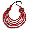 Layered Multistrand Red Wood Bead Black Cord Necklace - 100cm L
